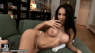 Wonderful dark haired girl Regina Moon is posing