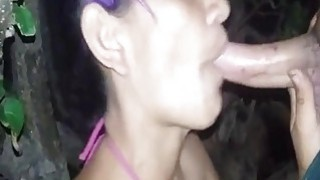 Awesome blowjob in nature by masked amateur wife