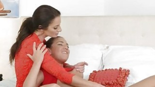 Slutty teen and gorgeous mommy lesbian sex on the bed