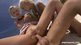 Threesome fuck on the beach with blondieTara White and Boroka Balls