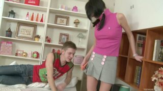 Kinky Yvette masturbates on a bed and later gets poked hard from behind by Matthew
