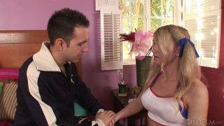 Lewd blonde shemale chick Kelly Shore sucks her stud's pecker