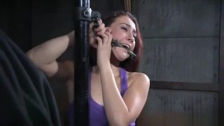 bondage Mandy very uncomfortable and whipping make her screaming
