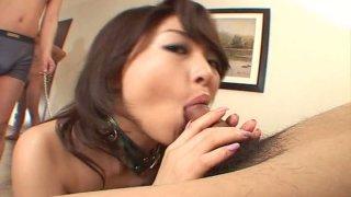 Spoiled Japanese hussy Ruka Uehara gives a blowjob to kinky dude