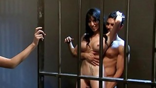 Hot ladies hot foursome in the jail cell