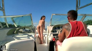 Professional cock sucker Henessy gets cunnilingus on the yacht