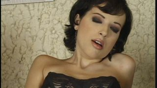 Zealous brunette Leda Paris gets banged tough by two dudes