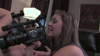 Sexy blonde camera girl records how Mia Valentine sucks dick of her boyfriend