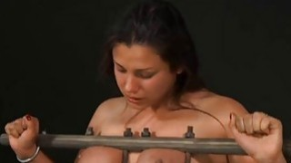 Gagged girl with clamped teats gets wild enjoyment