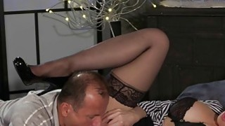 Busty mom gags and fucks in bed in lingerie
