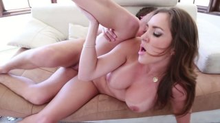 Horny brunette chick Kiera King sucks the dick deepthroat and gets rammed from behind