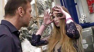 Russian teen Milena Devi kneels down and sucks Roccos dick