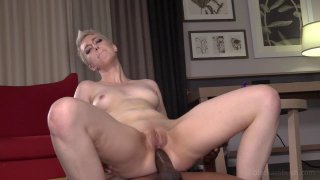 Short haired babe takes a BBC up the ass hard
