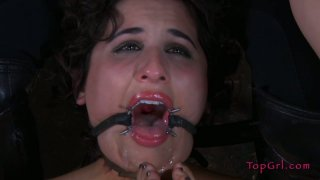 Voracious chubby bushbitch Marina gives a blowjob to dildo