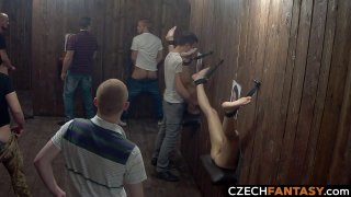Huge Tits for Amateurs in Glory Hole Room